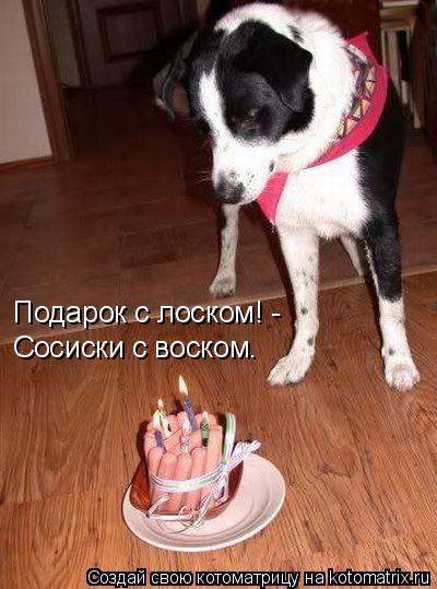 Котоматрица: Подарок с лоском! -  Сосиски с воском.