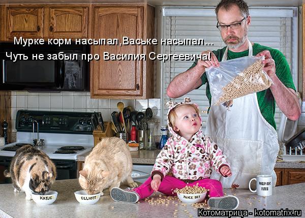 Котоматрица: Мурке корм насыпал,Ваське насыпал... Чуть не забыл про Василия Сергеевича!