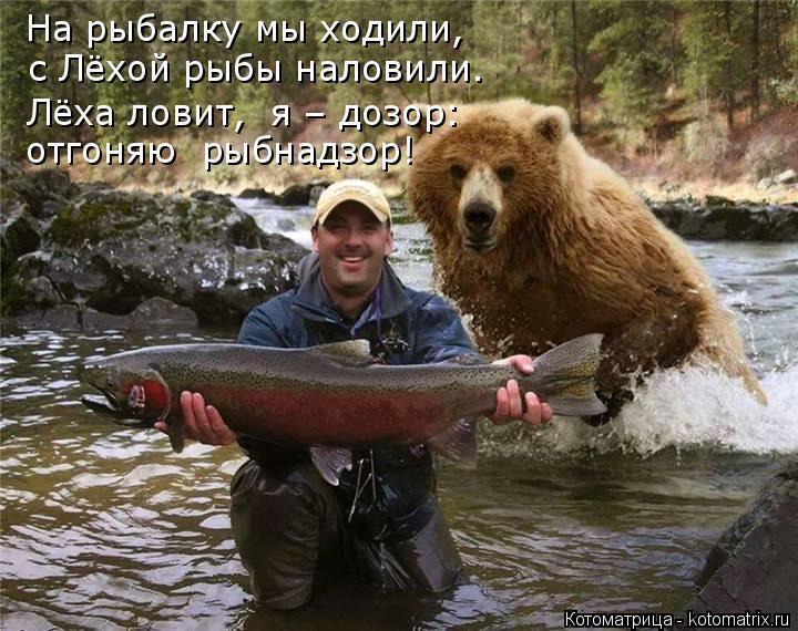 Котоматрица: На рыбалку мы ходили, с Лёхой рыбы наловили. Лёха ловит,  я – дозор: отгоняю  рыбнадзор!