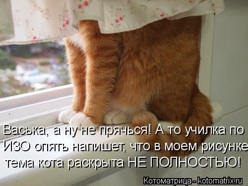 Котоматрица: Васька, а ну не прячься! А то училка по ИЗО опять напишет, что в моем рисунке тема кота раскрыта НЕ ПОЛНОСТЬЮ!