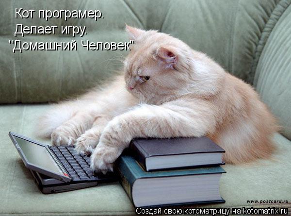 """Котоматрица: Кот програмер. Делает игру. """"Домашний Человек"""""""