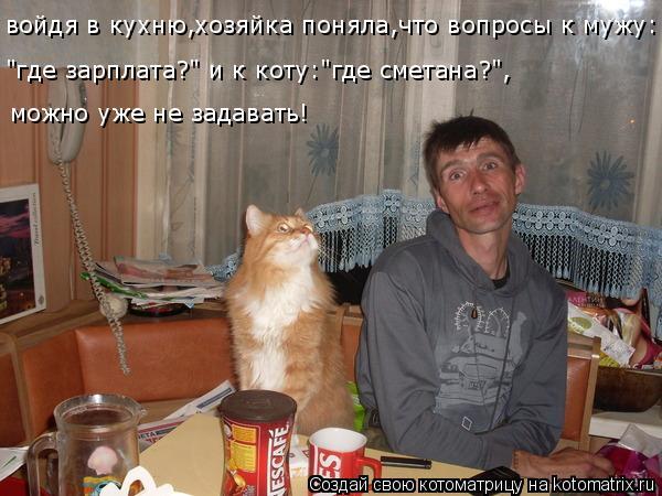 """Котоматрица: войдя в кухню,хозяйка поняла,что вопросы к мужу: """"где зарплата?"""" и к коту:""""где сметана?"""", можно уже не задавать!"""