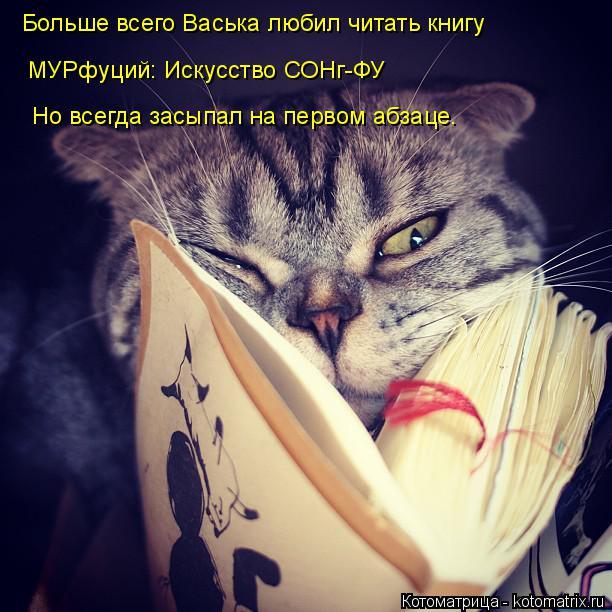 Котоматрица: Больше всего Васька любил читать книгу МУРфуций: Искусство СОНг-ФУ Но всегда засыпал на первом абзаце.