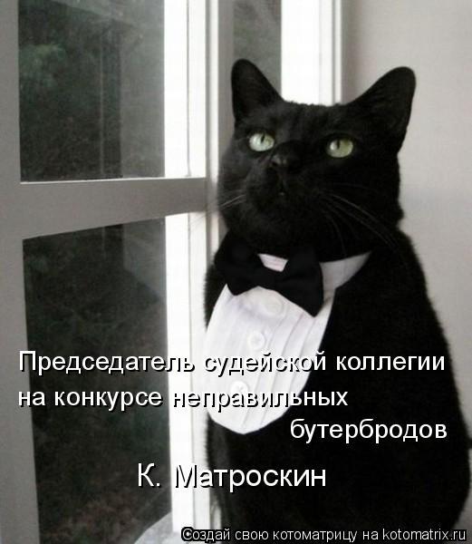 Котоматрица: Председатель судейской коллегии на конкурсе неправильных бутербродов К. Матроскин