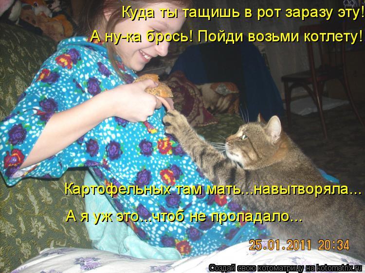 Котоматрица: Куда ты тащишь в рот заразу эту! А ну-ка брось! Пойди возьми котлету! Картофельных там мать...навытворяла... А я уж это...чтоб не пропадало...