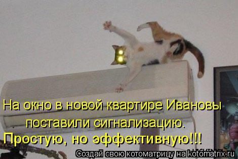 Котоматрица: На окно в новой квартире Ивановы  поставили сигнализацию. Простую, но эффективную!!!