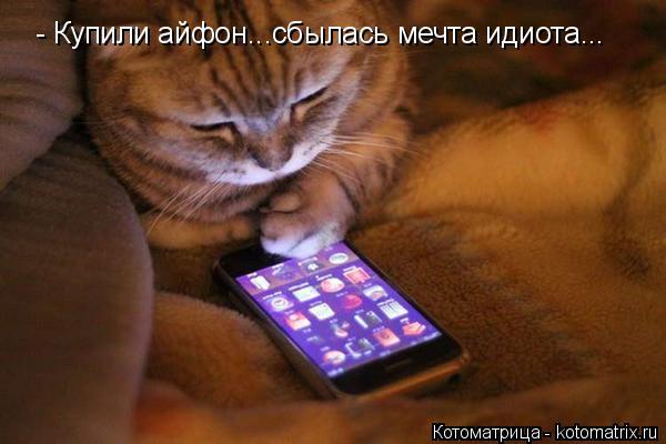 Котоматрица: - Купили айфон...сбылась мечта идиота...