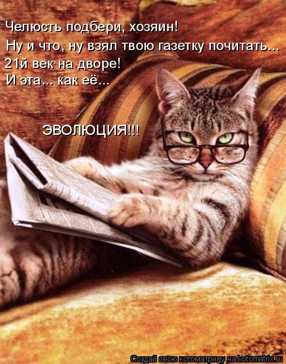 Котоматрица: Ну и что, ну взял твою газетку почитать...  Челюсть подбери, хозяин! 21й век на дворе!  И эта... как её... ЭВОЛЮЦИЯ!!!