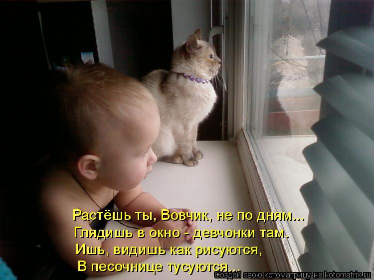 Котоматрица: Растёшь ты, Вовчик, не по дням... Глядишь в окно - девчонки там. Ишь, видишь как рисуются, В песочнице тусуются...