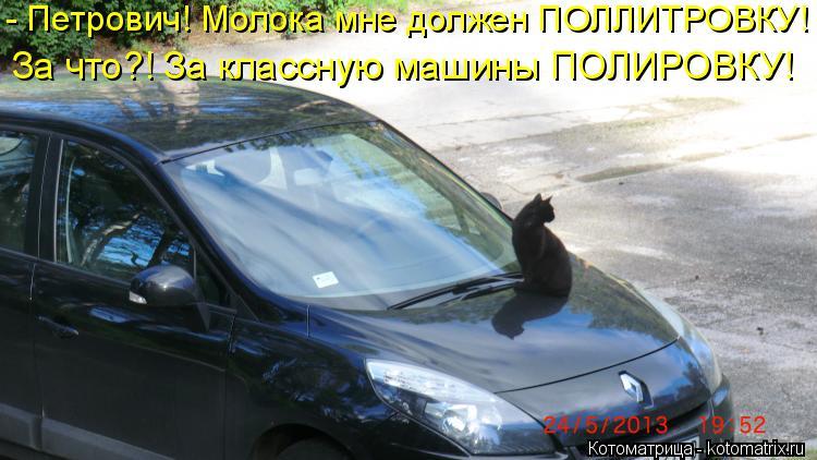 Котоматрица: - Петрович! Молока мне должен ПОЛЛИТРОВКУ! За что?! За классную машины ПОЛИРОВКУ!
