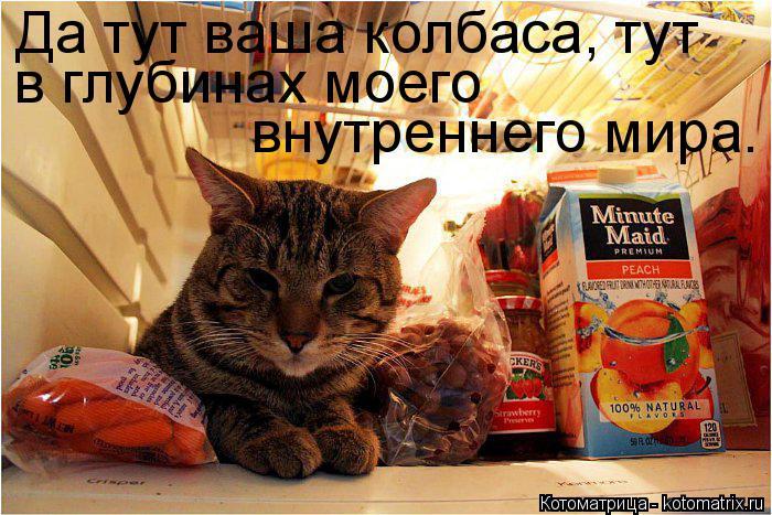 Котоматрица: Да тут ваша колбаса, тут в глубинах моего  внутреннего мира.