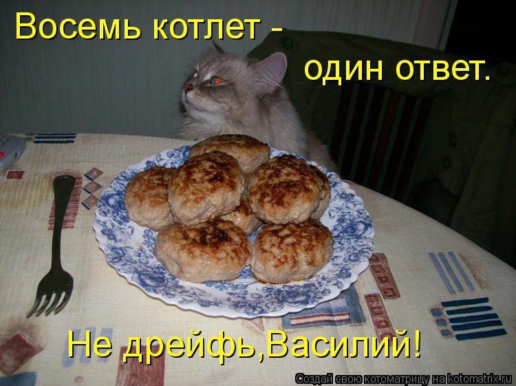 Котоматрица: Восемь котлет -  один ответ. Не дрейфь,Василий!