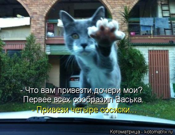 Котоматрица: - Что вам привезти,дочери мои? Первее всех сообразил Васька.  - Привези четыре сосиски...