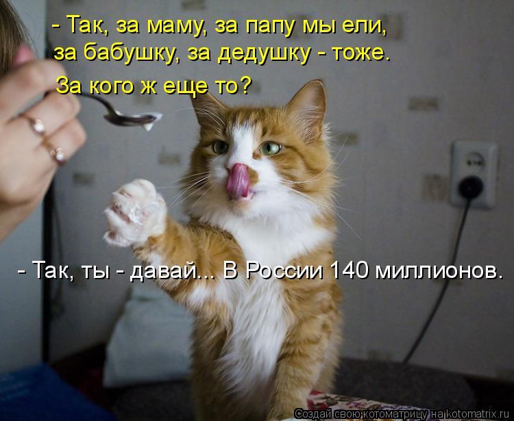 Котоматрица: - Так, за маму, за папу мы ели,  за бабушку, за дедушку - тоже.  За кого ж еще то? - Так, ты - давай... В России 140 миллионов.