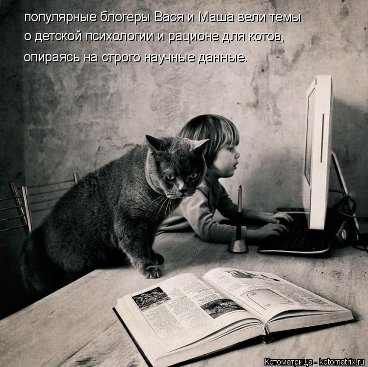 Котоматрица: популярные блогеры Вася и Маша вели темы о детской психологии и рационе для котов, опираясь на строго научные данные.