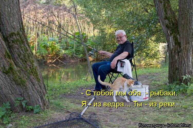 Котоматрица: Я - из ведра... Ты - из реки... - C тобой мы оба  - рыбаки.