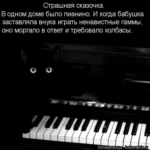 Котоматрица: Страшная сказочка. заставляла внука играть ненавистные гаммы, В одном доме было пианино. И когда бабушка оно моргало в ответ и требовало ко