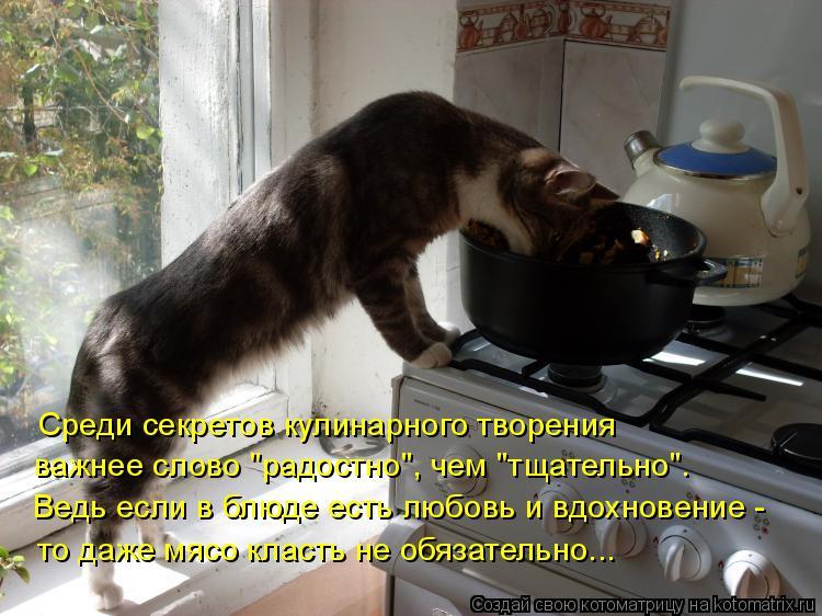 """Котоматрица: Среди секретов кулинарного творения важнее слово """"радостно"""", чем """"тщательно"""". Ведь если в блюде есть любовь и вдохновение - то даже мясо клас"""