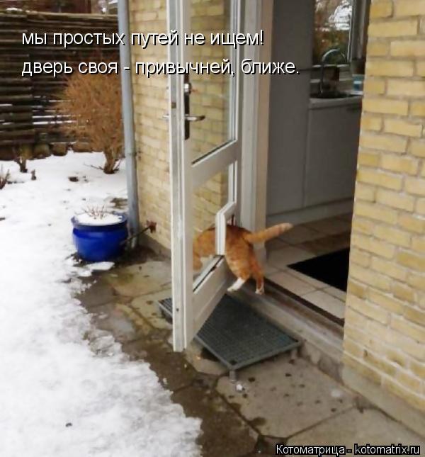 Котоматрица: мы простых путей не ищем! дверь своя - привычней, ближе.