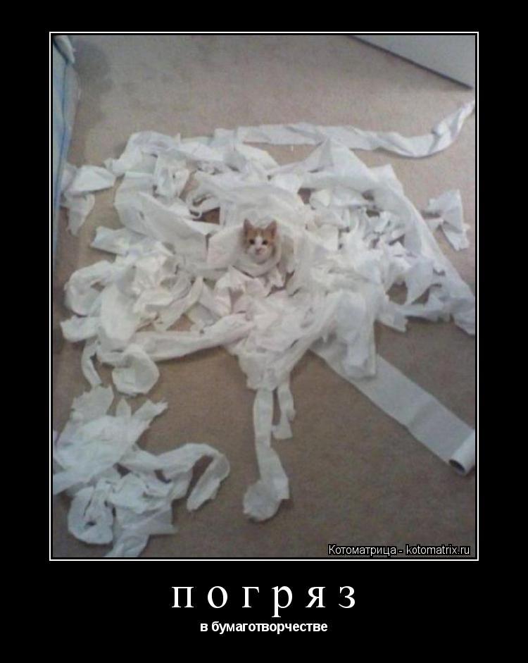Котоматрица: погряз  в бумаготворчестве