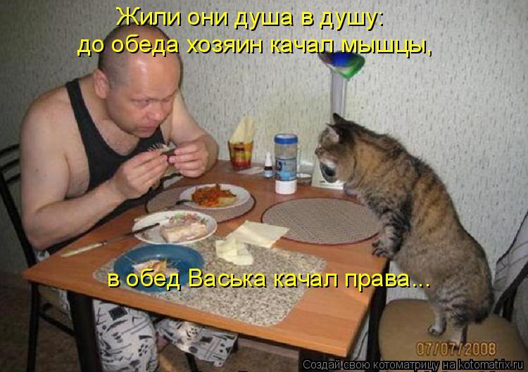 Котоматрица: Жили они душа в душу: до обеда хозяин качал мышцы,  в обед Васька качал права...