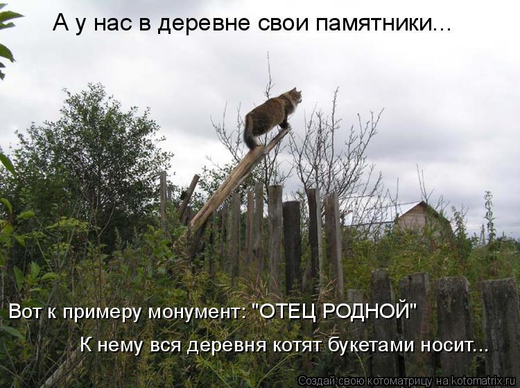 """Котоматрица: А у нас в деревне свои памятники... Вот к примеру монумент: """"ОТЕЦ РОДНОЙ"""" К нему вся деревня котят букетами носит..."""