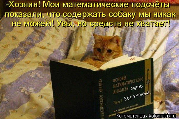 Котоматрица: -Хозяин! Мои математические подсчёты показали, что содержать собаку мы никак не можем! Увы, но средств не хватает! Кот Учёный. Автор: