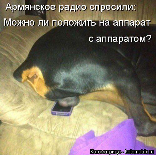 Котоматрица: Армянское радио спросили: Можно ли положить на аппарат  с аппаратом?