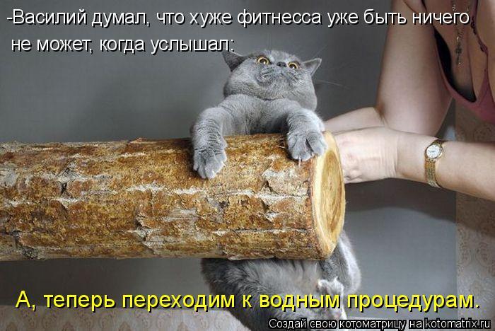 Котоматрица: -Василий думал, что хуже фитнесса уже быть ничего  не может, когда услышал: А, теперь переходим к водным процедурам.