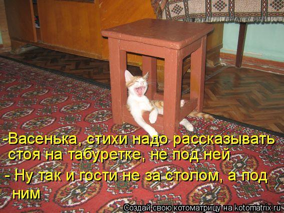 Котоматрица: - Ну так и гости не за столом, а под ним -Васенька, стихи надо рассказывать стоя на табуретке, не под ней