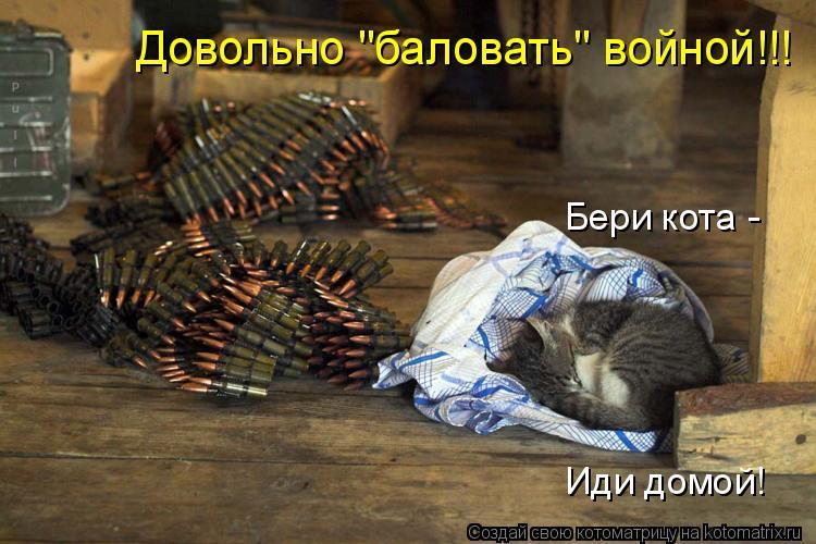 """Котоматрица: Довольно """"баловать"""" войной!!! Бери кота -  Иди домой!"""