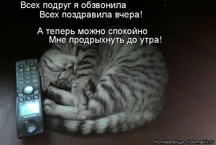 Котоматрица: Всех подруг я обзвонила А теперь можно спокойно  Мне продрыхнуть до утра! Всех поздравила вчера!