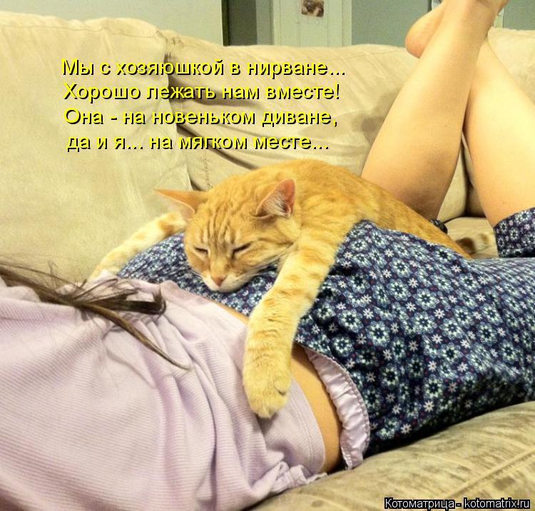 Котоматрица: Мы с хозяюшкой в нирване... Хорошо лежать нам вместе! Она - на новеньком диване, да и я... на мягком месте...