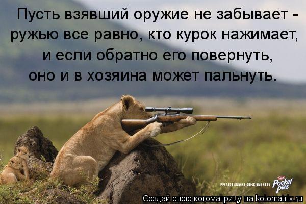 Котоматрица: Пусть взявший оружие не забывает - ружью все равно, кто курок нажимает, и если обратно его повернуть, оно и в хозяина может пальнуть.