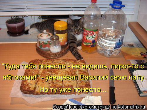 """Котоматрица: """"Куда тебя понесло - не видишь, пирог-то с яблоками!"""" - увещевал Василий свою лапу. Но ту уже понесло..."""