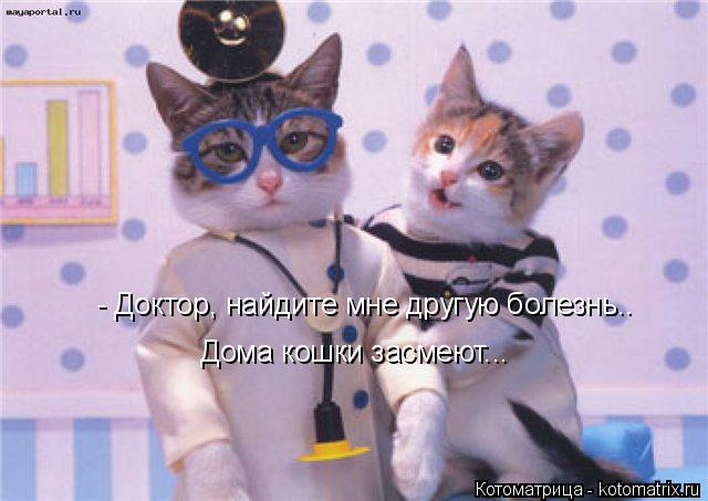 Котоматрица: - Доктор, найдите мне другую болезнь.. Дома кошки засмеют...