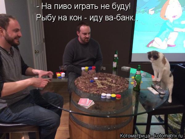 Котоматрица: - На пиво играть не буду! Рыбу на кон - иду ва-банк..