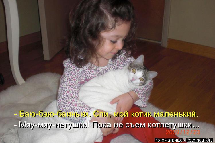 Котоматрица: - Баю-баю-баиньки. Спи, мой котик маленький. - Мяу-мяу-нетушки! Пока не съем котлетушки...