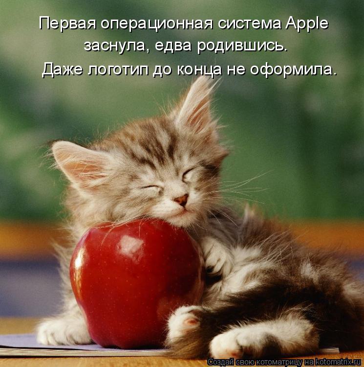 Котоматрица: Первая операционная система Apple заснула, едва родившись. Даже логотип до конца не оформила.