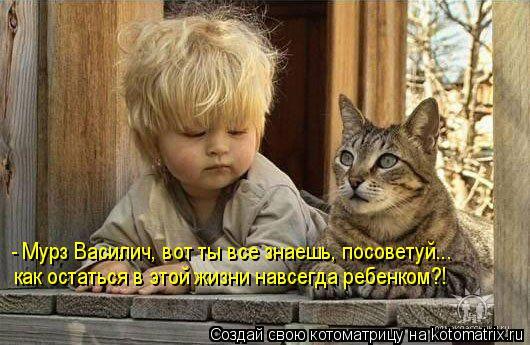 Котоматрица: - Мурз Василич, вот ты все знаешь, посоветуй... как остаться в этой жизни навсегда ребенком?!