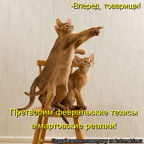 Котоматрица: Претворим февральские тезисы в мартовские реалии! -Вперед, товарищи!