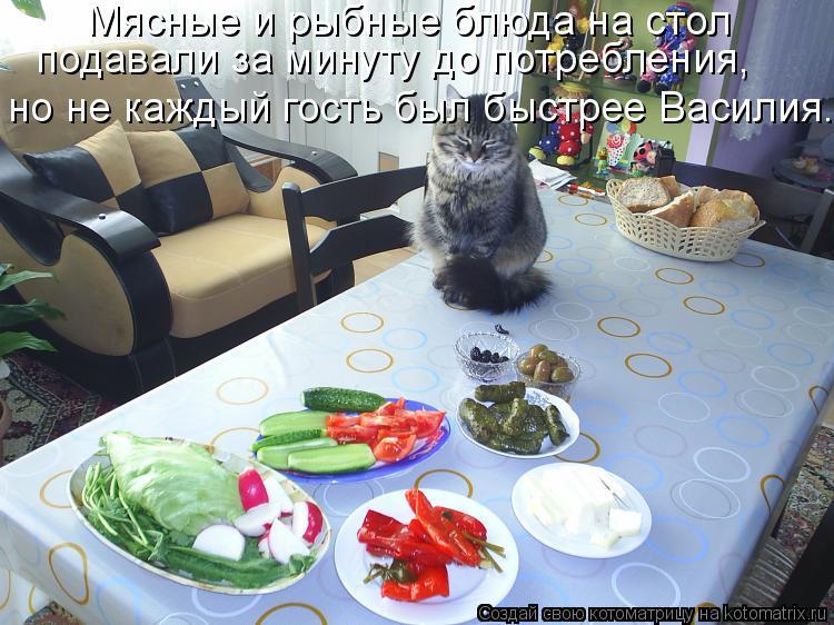 Котоматрица: Мясные и рыбные блюда на стол подавали за минуту до потребления, но не каждый гость был быстрее Василия.