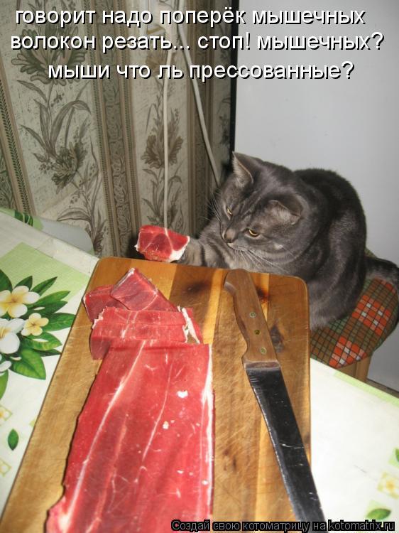 Котоматрица: говорит надо поперёк мышечных волокон резать... стоп! мышечных? мыши что ль прессованные?