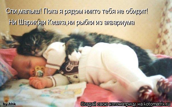 Котоматрица: Спи,малыш! Пока я рядом никто тебя не обидит! Ни Шарик,ни Кешка,ни рыбки из аквариума