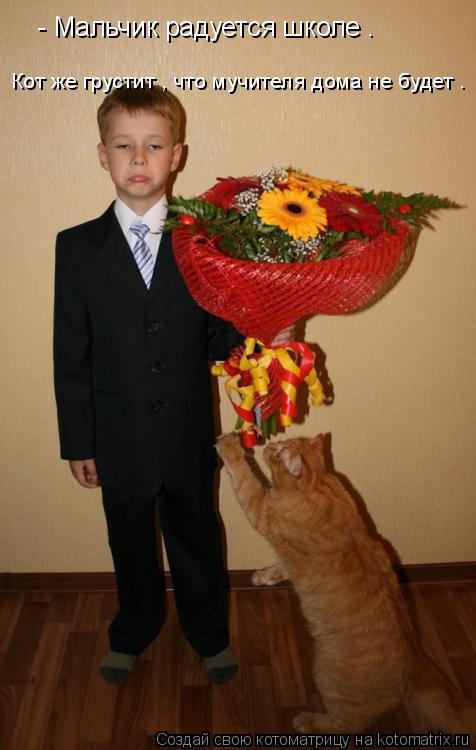 Котоматрица: - Мальчик радуется школе . Кот же грустит , что мучителя дома не будет .