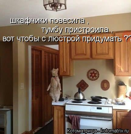 Котоматрица: шкафчики повесила , тумбу пристроила , вот чтобы с люстрой придумать ???