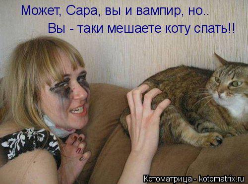 Котоматрица: Может, Сара, вы и вампир, но.. Вы - таки мешаете коту спать!!