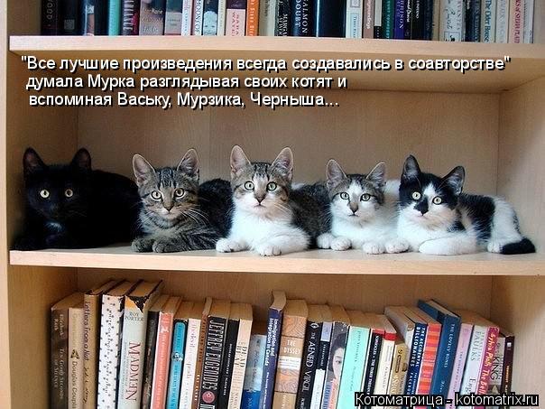 """Котоматрица: """"Все лучшие произведения всегда создавались в соавторстве"""" думала Мурка разглядывая своих котят и   вспоминая Ваську, Мурзика, Черныша..."""
