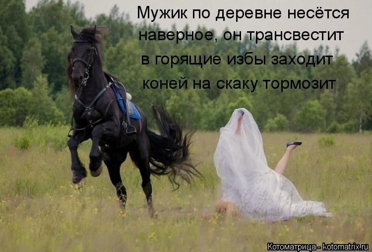 Котоматрица: Мужик по деревне несётся наверное, он трансвестит  в горящие избы заходит коней на скаку тормозит