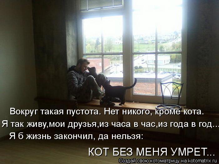 Котоматрица: Вокруг такая пустота. Нет никого, кроме кота. Я так живу,мои друзья,из часа в час,из года в год...  Я б жизнь закончил, да нельзя:  КОТ БЕЗ МЕНЯ УМ